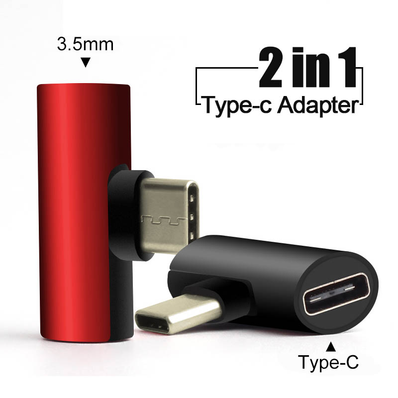 2 In 1 Type C To 3.5mm Jack Earphone Charging Converter USB Type-C Audio Adapter For Huawei Xiaomi Mi My 8 Lite Type C Phones