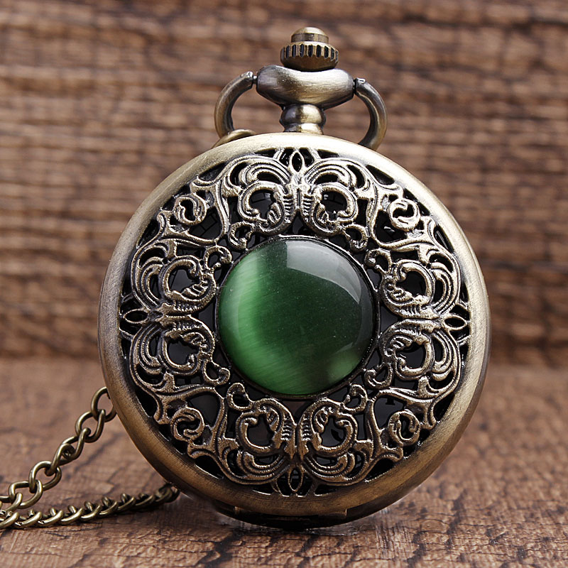 Bronze Hollow Imitation Jade Stone Necklace Pendants Decorated Pocket Watch Emerald Decoration Presents Chian Men Women Gifts