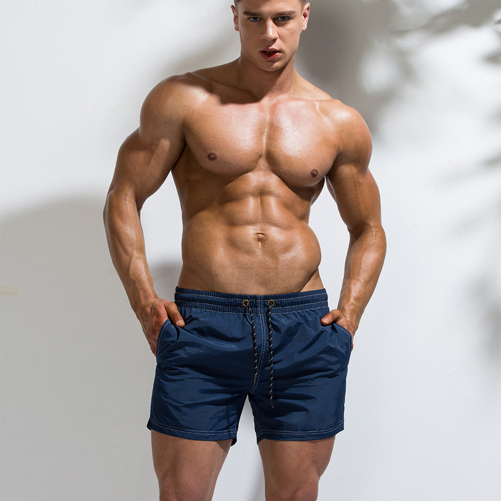 Men's Fast Drying Short Pants Beach Shorts Pool Solid Surfing Beach Volleyball Short Pants Mens Shorts And Boxers Pocket Gym Hot