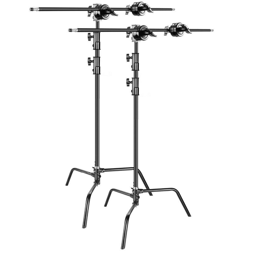 Soporte de luz resistente Neewer 2-pack C-Soporte-máx. 10 pies/3 metros ajustable con 3,5 pies de brazo de sujeción + cabezal de agarre para estudio