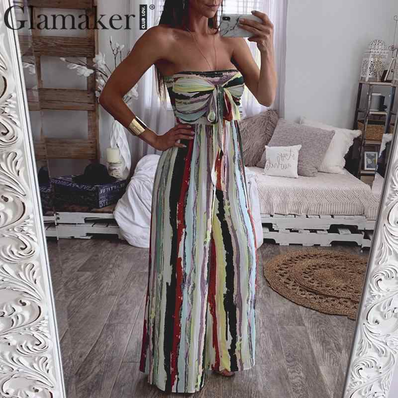 Glamaker off shoulder strapless long jumpsuit Women stripe bow tie backless romper Female elegant holiday party jumpsuit new