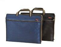 Blue Black Man Briefcase Business Bag Fashion Brand Waterproof Thicken Document File Zipper Bag Organizer Multifunctional