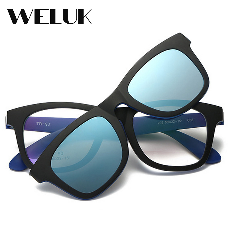 b203d7a15023 WELUK Transparent Tr90 Square Magnet Sunglasses Clip Men Night Driving  Magnetic Mirrored Clip on Sun Glasses Myopia Eyeglasses-in Sunglasses from  Apparel ...