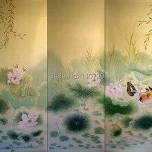 Расписанный вручную шелковый обои с изображением лотоса с цветком/птицей/мандариновой уткой/краном/бабочкой ручная роспись много фотографий по желанию