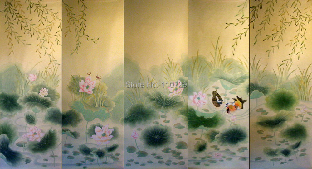 Hand painted silk wallpaper painting lotus with flower/bird/Mandarin duck/crane/butterfly hand-painted many pictures optional iarts aha072962 hand painted thick texture of knife painting trees oil painting red 60 x 40cm