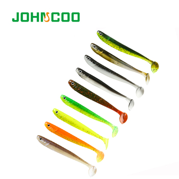 JOHNCOO Fishing Lures Artificial Bait for Fishing 75mm/105mm/125mm Jig Head Fishing Lure for Bass Fishing Wobblers