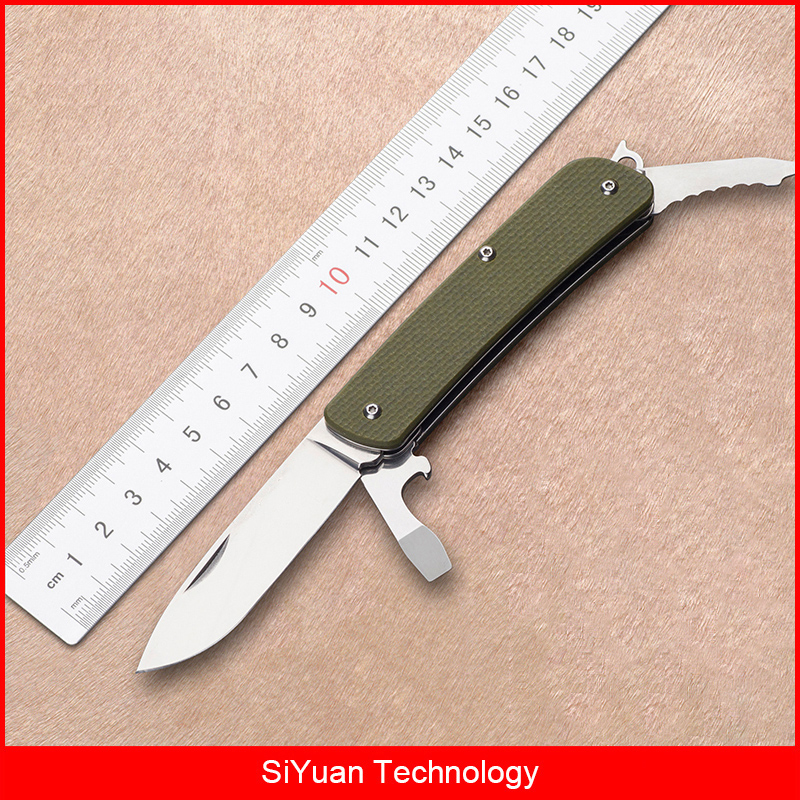 Mack Walker WA721 Pocket Folding Knife with Belt Cutter Bottle Opener Window Breaker for Camping Hunting Emergency Survival