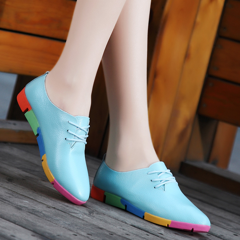 Women shoes 2018 breathable genuine leather flats shoes woman tenis feminino nurse plus size peas shoes women sneakers free shipping candy color women garden shoes breathable women beach shoes hsa21