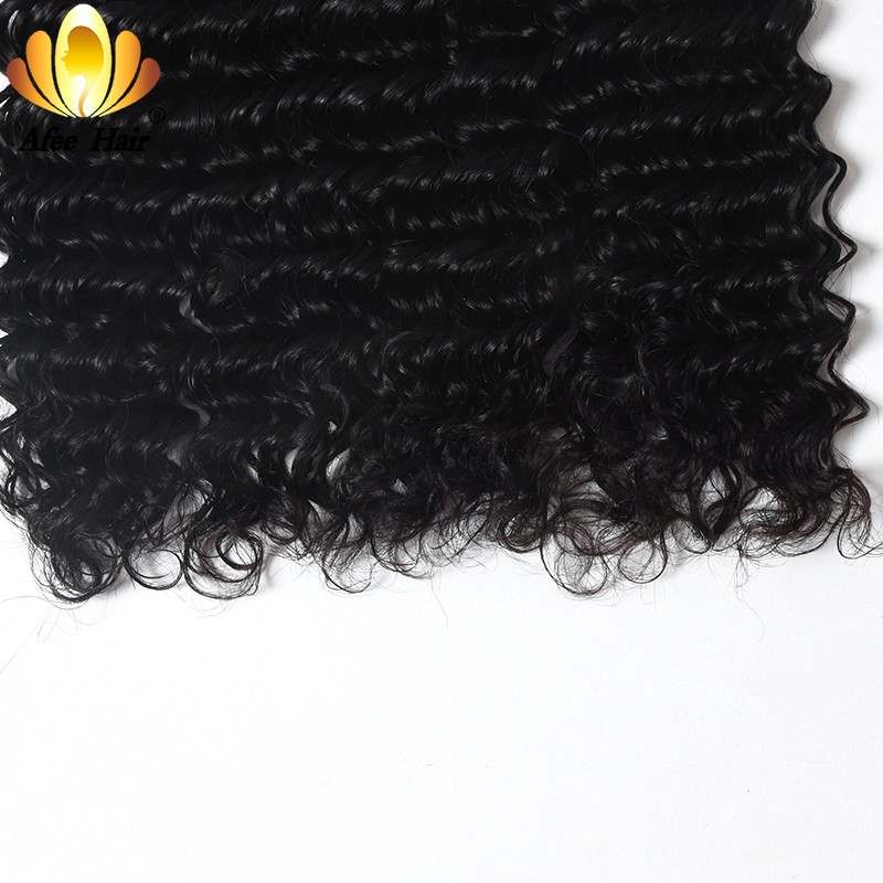 Aliafee Hair 4 Bundles Deal Deep Wave Brazilian Hair Weave Bundles - Mänskligt hår (svart) - Foto 5