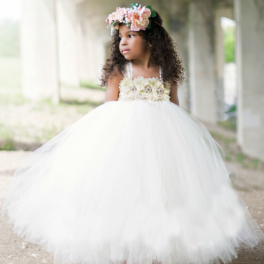 Handmade Shabby Flower Girl Tutu Dress Princess Kids Wedding Tulle Dress for Girls Birthday Party Pageant Ball Gowns Clothes (5)