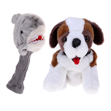 2 Pieces Novelty Animal Golf Club Head Cover Headcover For 460 Cc Wood Driver - Dog Shaped, Shark Shaped