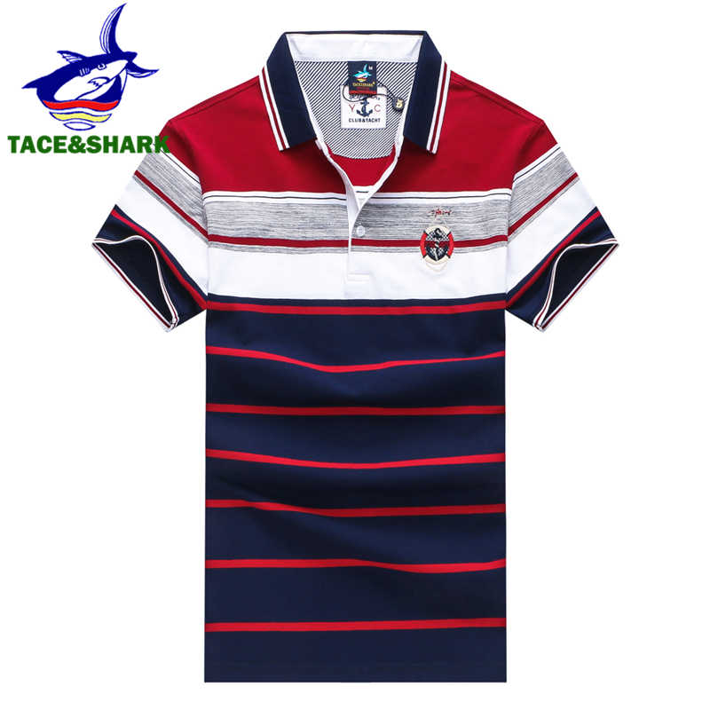 TACE & SHARK Brand Hoge Kwaliteit 2018 Mannen Fashion Casual Gestreepte Polo Homme Borduren Camisa Polo Mannen Polo Plus Size 3XL