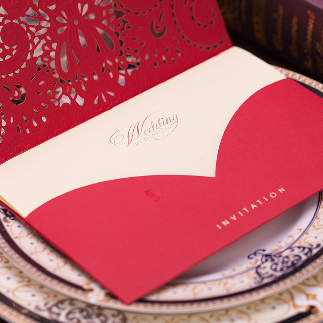 Online shop free shipping 20 x redgold wedding invitation card free shipping 20 x redgold wedding invitation card hollow laser cut wedding party guest invitation card stopboris Image collections