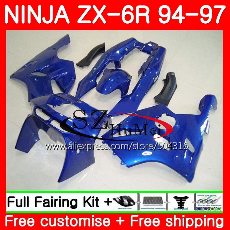 Body For KAWASAKI NINJA glossy blue ZX-6R 94-97 ZX636 600CC ZX 636 13SH8 ZX6R 94 95 96 97 ZX 6R 1994 1995 1996 1997 Fairings Body For KAWASAKI NINJA glossy blue ZX-6R 94-97 ZX636 600CC ZX 636 13SH8 ZX6R 94 95 96 97 ZX 6R 1994 1995 1996 1997 Fairings