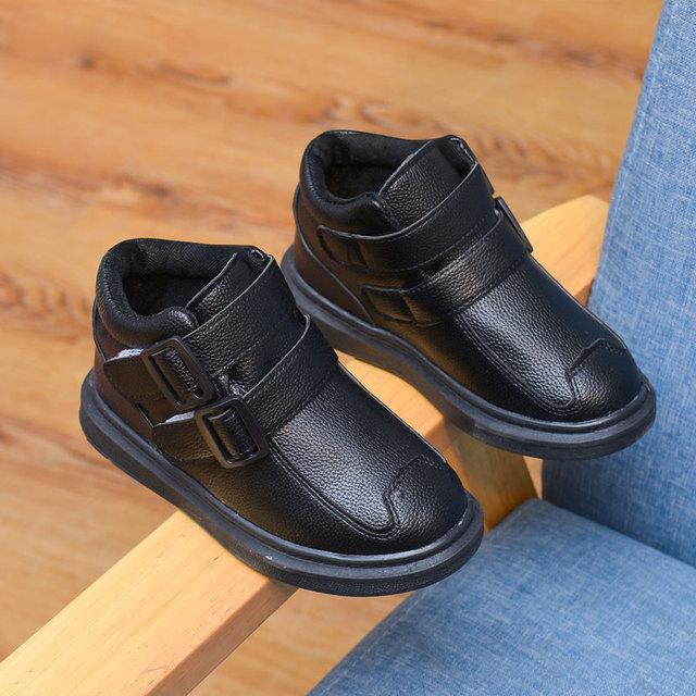 Criança shoes botas de inverno 2016 criança do sexo masculino de couro criança do sexo feminino além de veludo botas quentes shoes-algodão acolchoado shoes