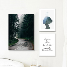 Landscape Painting Forest Wall Art Canvas Abstract Nordic Poster Pictures For Bed Room Unframed