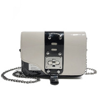 Women PU Leather Crossbody Chain bag Girl Rivet Vintage Saddle Flap messenger Metal lock White Black Red Panelled Shoulder Purse kafvnie children handbag girl shoulder bag fashion flower rivet glitter metal chain bucket kid flap bag shiny party baby purse