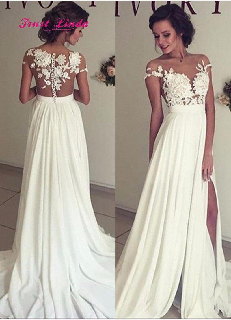 Aliexpress Com Buy Beach Wedding Dresses See Through Sheer Dinner