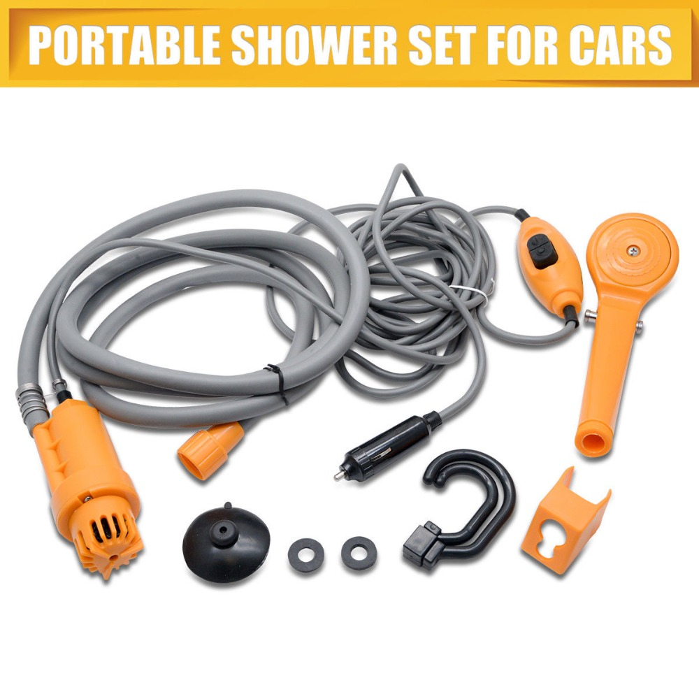 12V For Car Caravan Outdoor Camping Washing Machine Handheld Portable Washer Car Water Gun Pump Travel Pet Dog Take Shower Set