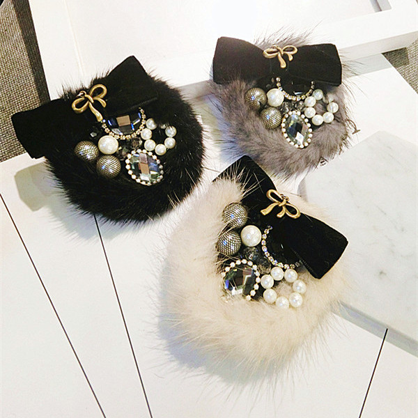Handmade fashion fur bowknot rhinestone brooches for women vintage faux pearl crystal hairy brooch pins jewelry