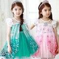 Freeship 2016 новые девушки анна эльза платье детей летом платье середины икр мило кружева труба с коротким рукавом принцесса одежда