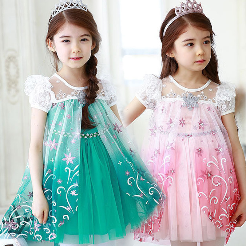 Freeship 2016 newest girl elsa dress children summer anna dress mid calf cute lace trumpet short