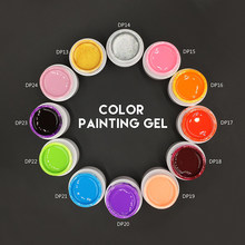 Nuevo 3D Nail Art pintura dibujar pintura acrílico Color UV Gel 36 colores Glitter puntas falsas acrílico Nail Art polaco Kit Set (DP13 ~ DP24)(China)