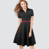 Retro Vintage Gold Strips Patchwork Swing A line Dress Women Elegant Chic Turn Down Collar Tunic Party Flare Dress HA080