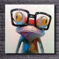 Hand Painted Acryl Leinwand Ölgemälde Bunte Frosch mit Große Gläser Lustige Moderne Abstrakte Tier Wandkunst Kinderzimmer Decor