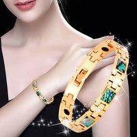 2019 New Fashion bracelet for women Magnetic Germanium Shell Stainless Steel Bracelet For Female Health Bracelets Energy Jewelry
