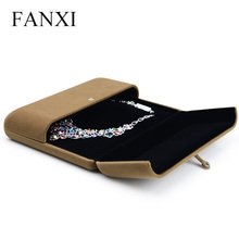Фотография FANXI  Free Shipping Delicate Coffee Pearl Necklace Display Box With Sponge Display Gift Box Paper Box Pearl Necklace Holder