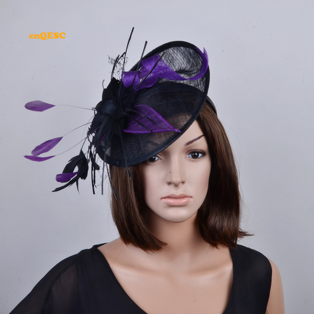NEW colour Black purple big sinamay fascinator with feathers for Tea Garden  party Royal Races Kentucky derby.FREE SHIPPING b5dc8d1757f