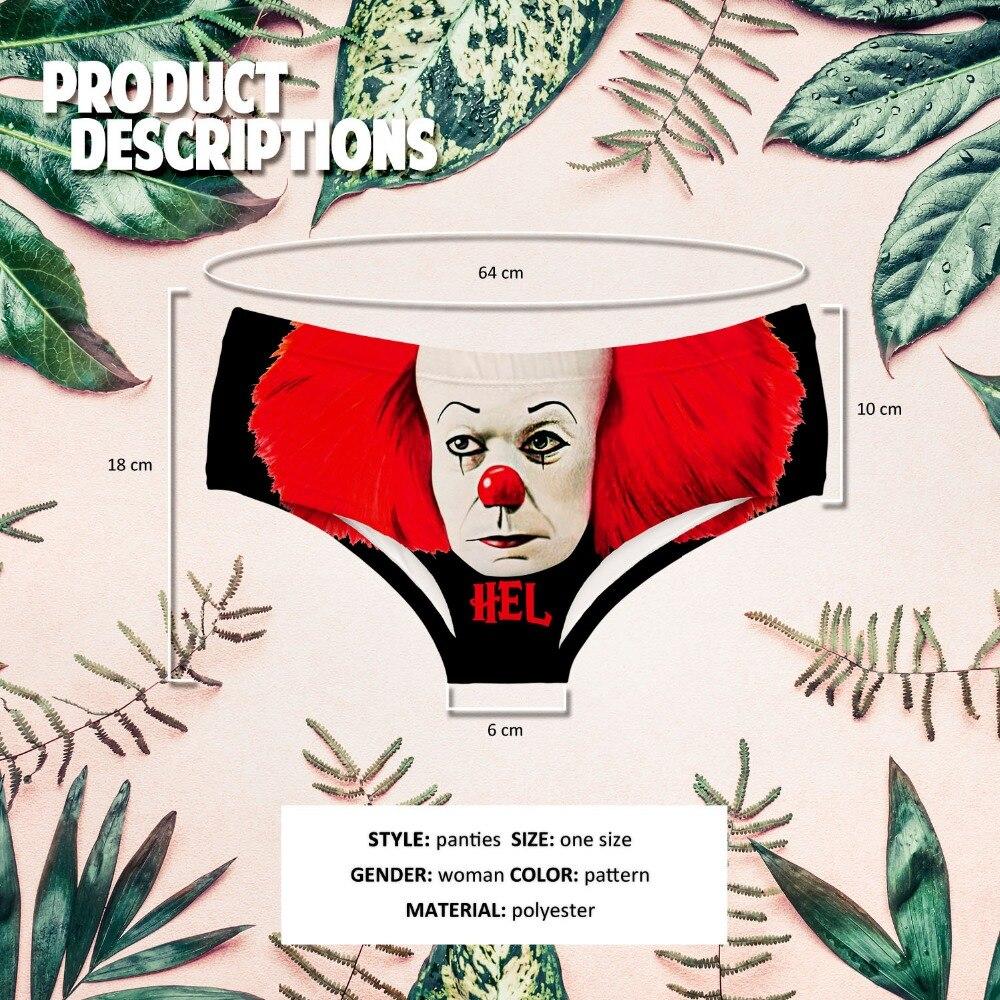 LEIMOLIS Red HEL CLOWN black funny print sexy hot panties female kawaii Lovely underwear push up briefs women lingerie thongs in women 39 s panties from Underwear amp Sleepwears