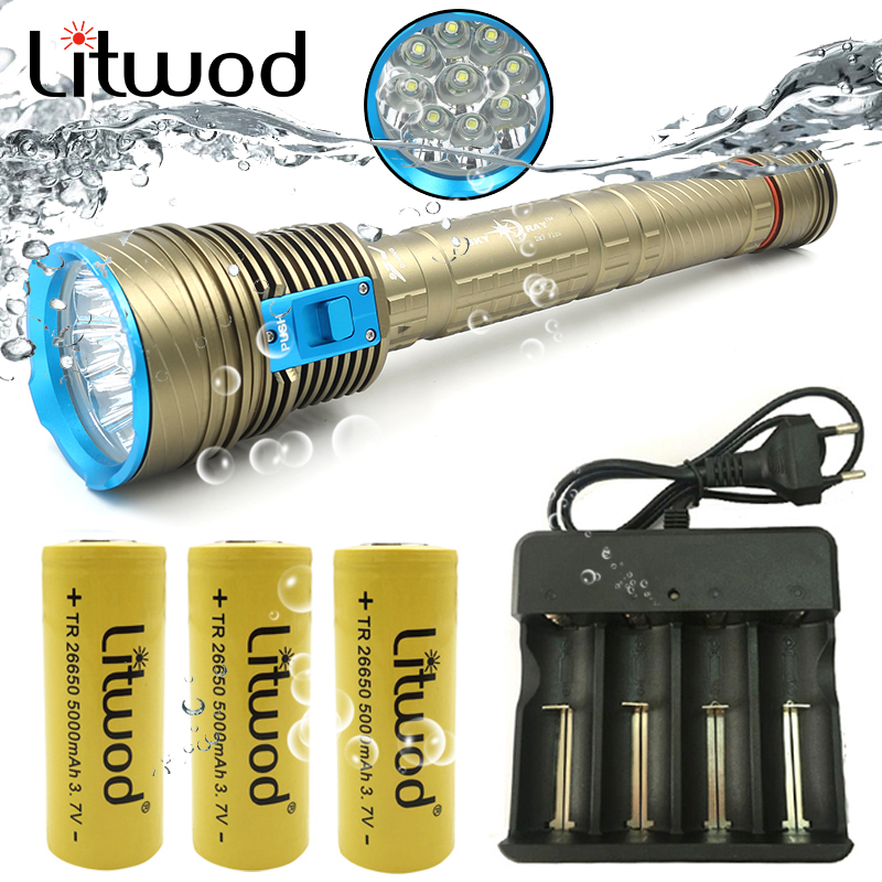 Litwod Z25 Original CREE XHP70 4000 lumens Diving Led Flashlight Torch Swimming VS 9PCS XM L T6 Waterproof Underwater 100m