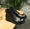 Nuevo Estilo Británico de La Vendimia Punta Redonda de Cuero Genuino Botas de Los Hombres Zipper & Lace Up High top Botas Martin Tobillo Varón Ocasional botas