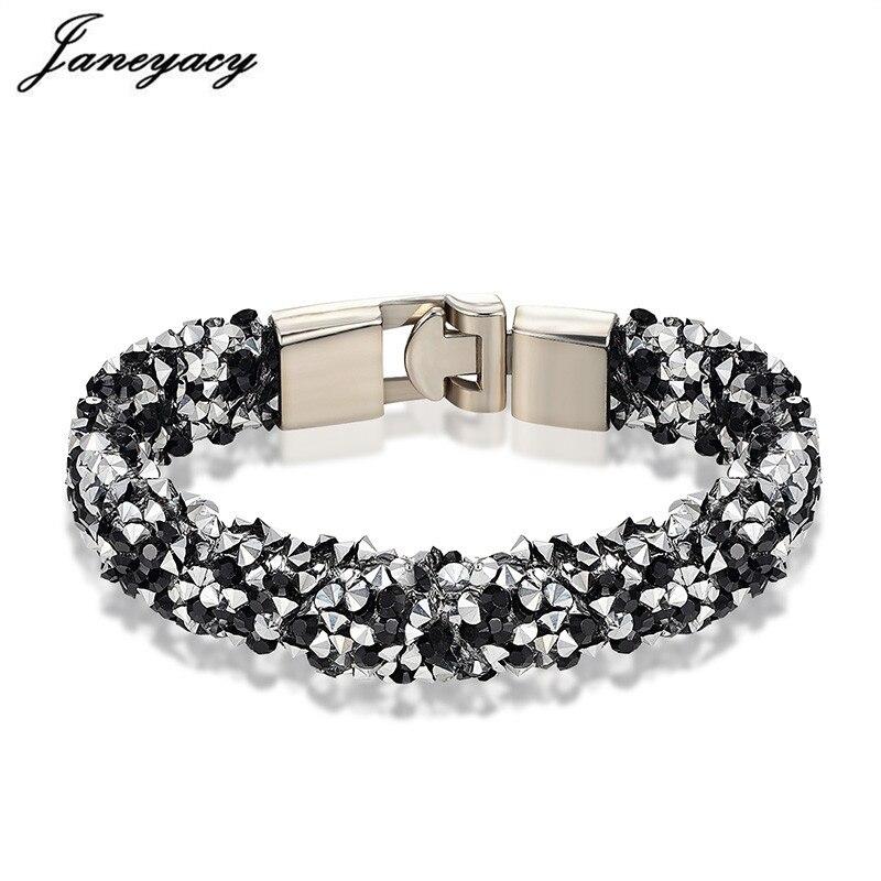 Janeyacy Brand 2018 New 10 Color Bracelet & Ladies Bracelet Fashion Rhinestones Bracelet Lady Charm Personality Pulsera mujer(China)