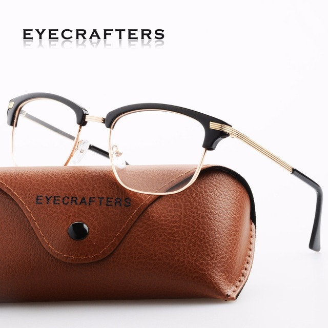 6c81dbffd5 Retro Black Gold Vintage Womens Half Rimless Optical Glasses Frame Half  Frame Mens Clear Lens Eyeglasses