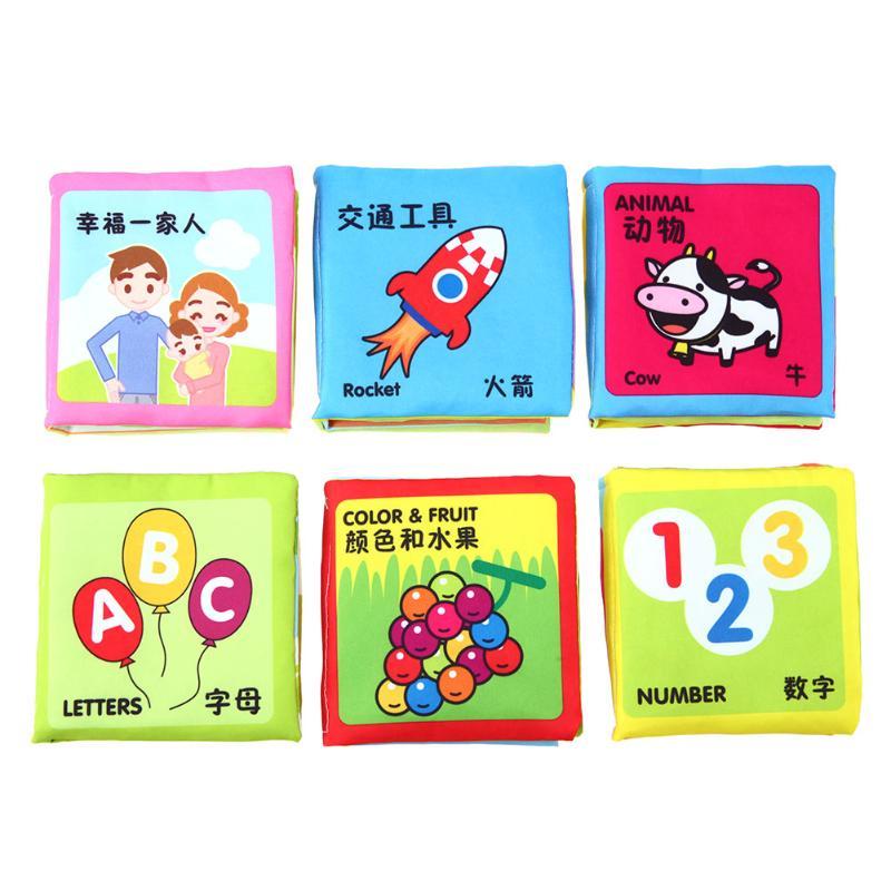 6 шт./компл. цвет ful детская ткань книги цифры цвет еда познание ткань книги раннего образования детская игрушка для новорожденных подарок на...