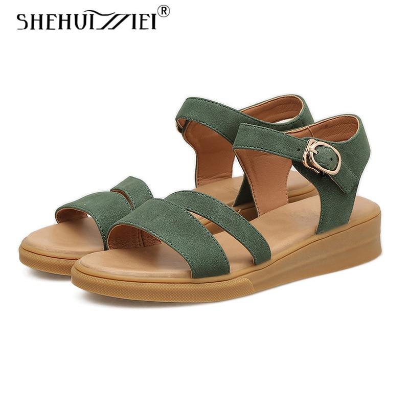 Shehuimei Women Sandals Women Beach Shose Women Comfortable Casual Shoes Genuine Leather Women Slippers Summer Shoes Size 8