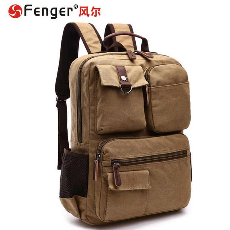 ФОТО Men canvas shoulder bag Large Capacity brown ArmyGreen Travel backpack student schoolbag cartera rucksack