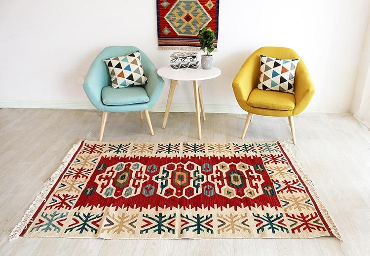 Tissé à la main kilim tapis brodé à la main grand pour salon géométrique Style sud-ouest laine tapis tapis