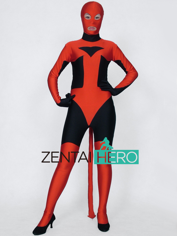 Free Shipping DHL Amazing Evil Witch Red&Black Lycra Zentai Bodysuit Cosplay Halloween Costume with Tail Open Eyes Mouth XRC134
