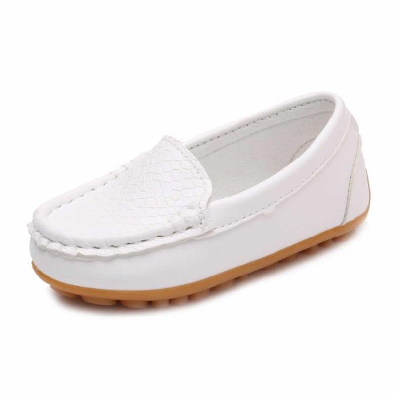 WOTTใหม่เด็กรองเท้าคลาสสิกแฟชั่นPUรองเท้าสำหรับสาวๆหนุ่มๆรองเท้าแบนสบายๆเด็กรองเท้าสีขาวสีดำ