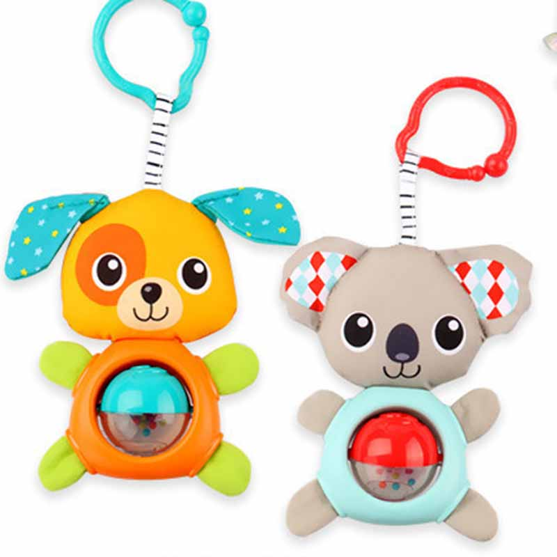 Baby Soft Rattles Bed Crib Stroller Shake Ring Toys Kawaii Stuffed Animal Bear Dog Kids Plush Dolls For Newborn Gift BD040