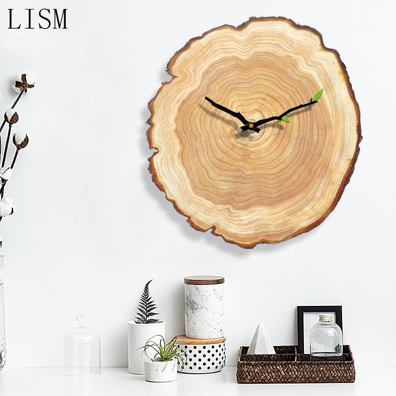 Nordic wall clock/creative wooden silent wall clock living room bedroom home decor gift/simple wooden (tree ring) Nordic clock