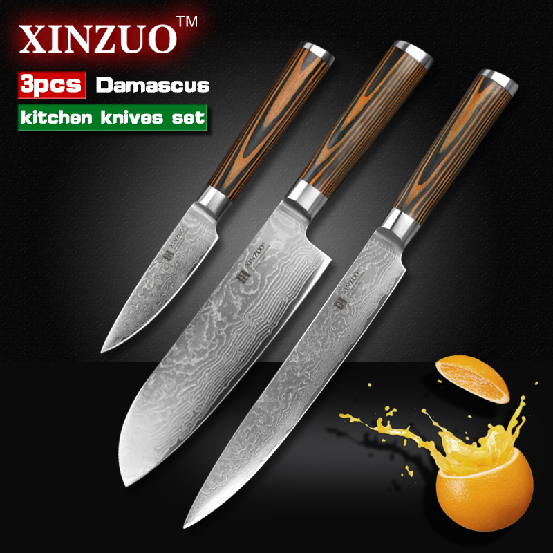 XINZUO 3 pcs Kitchen font b knives b font set Damascus kitchen font b knife b