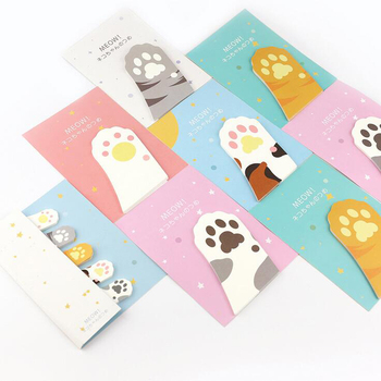 N15 1X Kawaii Cute Cat Paw Memo Pads Sticky Notes Stick Paper Decor Sticker Bookmark Stationery Student School Office Supply  Y56 Recent Colourful Feather Memo Pads Sticky Notes Stick Paper Message Sticker Bookmark Marker of Web page Stationery Faculty Provide HTB1x