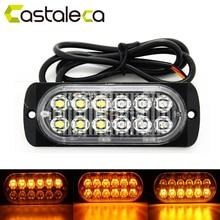 цена на Castaleca Car Truck Trailer Side marker strobe lights Amber 12 LED Flashing warning lamp 19 flash patterns 12V-24V Super bright