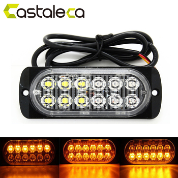 Indicador lateral del remolque del camión del coche de Castaleca luces estroboscópicas ámbar 12 LED luz de advertencia intermitente 19 patrones de flash 12V-24V Super brillante