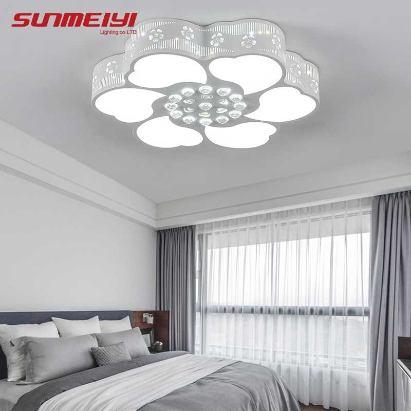 Flowers Modern LED Ceiling Lamp for living room luminarias  Acrylic+ Crystals Lighting lampara led techo Light Fixtures noosion modern led ceiling lamp for bedroom room black and white color with crystal plafon techo iluminacion lustre de plafond
